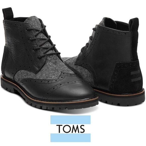 Tom's Leather Boots Fleck Speck Grey Brogue